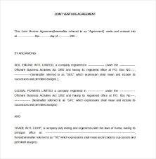 Joint Venture Template. Construction Joint Venture Agreement ...