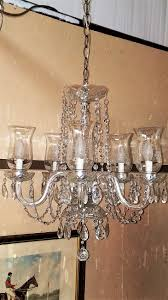 etched hurricane shade crystal 5 arm chandelier