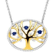details about created sapphire cz family tree floater necklace 14k gold plated silver