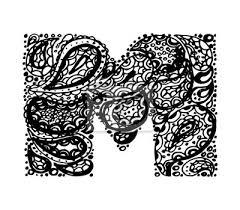 Fototapeta Písmeno M Dekorativní Abeceda S Bordó Zen Náplní Doodle Tetování