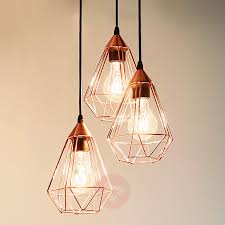 glossy copper hanging light tarbes 3 bulb 3031863 01