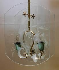 mid 20th century italian fontana arte style etched glass mermaid pendant light for