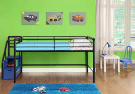 kids low loft bed. Interesting Loft Black Metal Kids Low Loft Bed With Blue Storage Stairs Also Green Wall  Theme And White Room Decor On Brown Wooden Floor