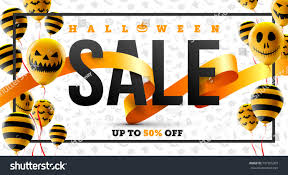 halloween sale flyer halloween sale concept halloween ghost balloonsscary stock vector