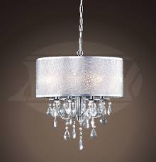 kristina 4 light chrome and crystal white fabric shades chandelier 21 5 h x