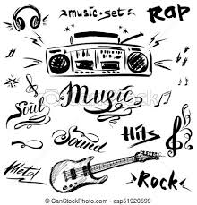 Hand Drawn Sketch With Notes Music Playerguitar And Music Styles Lettering Signs