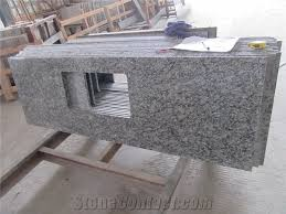 herrlich prefabricated kitchen countertops china white granite spray chinese factory sea wave flower oval sink tops