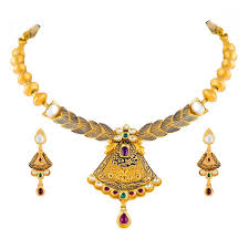 antique gold necklace set ashrs 0175