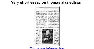 very short essay on thomas alva edison google docs