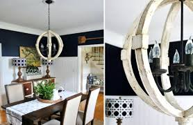 wood orb chandelier distressed white large round wooden