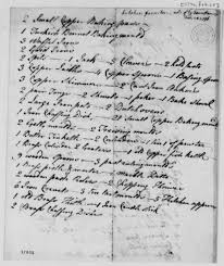 Two Page List Of Kitchen Equipment Written Out By James Hemings