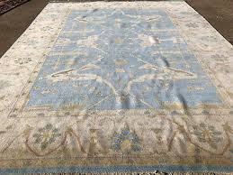 9x12 blue hand knotted rug new oushak wool area rugs ushak muted turkish persian