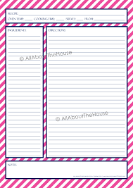 Recipe Binder Templates Recipe Template Allaboutthehouse Printables
