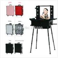 station makeup artist cosmetic rolling case with lights mirror legs beauty box 6 colours in cosmetic