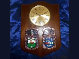 gorgeous hand crafted double family crest clock 16 11 inch