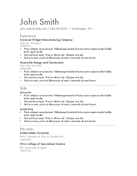 Simple Resumes Templates Magnificent Basic Resume Template Free Yelommyphonecompanyco