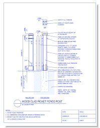 picket fence drawing. CAD Drawings CADdetails.com Wood Clad Picket Fence Post: W/ Concrete Pier Drawing