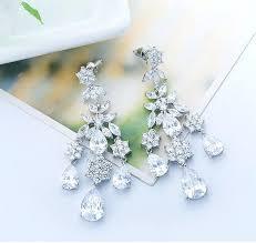 cz chandelier earrings bridal chandelier earrings crystal chandelier earrings cubic long drop bridal earrings sterling silver cz chandelier earrings