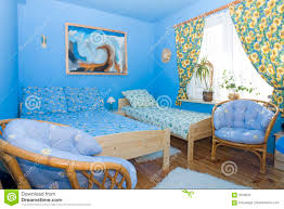 Farbe Koordiniertes Blaues Schlafzimmer Stockbild Bild Von Bett