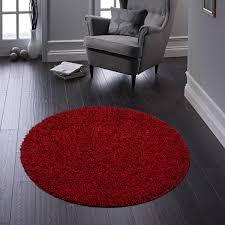 buddy red washable plain circle rug by rug guru
