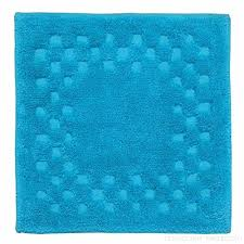 homescapes check border square shower mat turquoise blue soft 100 cotton 1200 gsm washable bath rug with non slip spray backing bjds4q6su