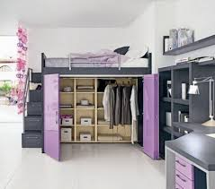 gray stained wodoen adult loft bunk bed with cream walk in closet underneath having purple three bedroom black furniture sets loft beds