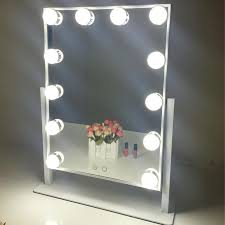 makeup vanity mirror with light lighted tabletop led bulbs two kinds hollywood lights