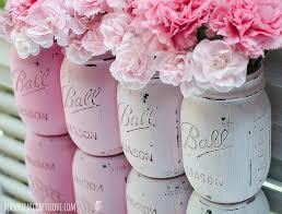 painted mason jars pink