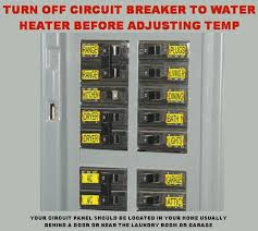 how to change the temperature on your electric water heater turn off circuit breaker