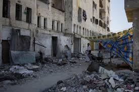 testimony from gaza witness to a war crime imeu outside omar s destroyed apartment building