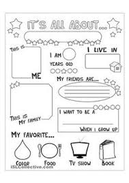 Small Picture All About Me Worksheet for Preschool All About Me Book and
