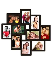 trendzy decor black wood matte finish 10 in 1 wall photo frame collage
