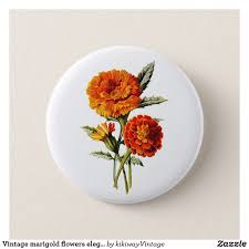 Marigold Floral Design Vintage Marigold Flowers Elegant Floral Design Pinback