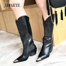 2018 newest chic real leather boots women metal pointed toe knee high boots woman martin boots knight
