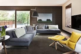Yellow And Grey Living Room Living Room White Pendant Lights Gray Sofa Gray Rug White Futons