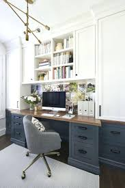 home office fitout. Home Office Fitout Ideas Pretty Sure This Is My Dream Love The Dark Blue Gray Lower Desk Cabinets Wood Top And White Uppers