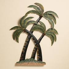 coco palm tree metal wall sculpture
