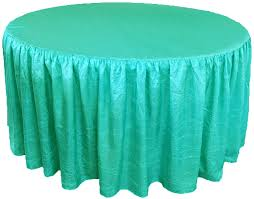 72 round fitted crushed taffeta ruffled tablecloth with skirt 30 colors