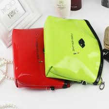 the new hot mirror leather handbag makeup bag s shaped las storage colorful nice cosmetics package waterproof wash bag in storage bags from home