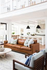 Leather sofa living room Green Tan Leather Sofa Via Studio Mcgee Curated Interior 10 Beautiful Brown Leather Sofas