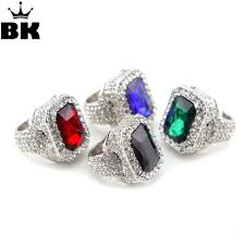men hip hop jewelry iced out gold silver plated red green ring fashion bling full rhinestone crystal stone punk rings gift