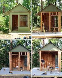 turn old hut into childrens outdoor playhouse replacing sides