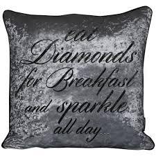 Crushed Velvet Cushion Eat Diamonds for Breakfast and Sparkle all ...