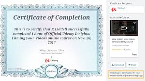 Certificate Of Completeion Certificate Of Completion Udemy