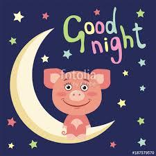 good night funny pig in cartoon style sitting on moon