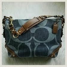 COACH AUTHENTIC DENIM Carly Monogram Satchel Bag