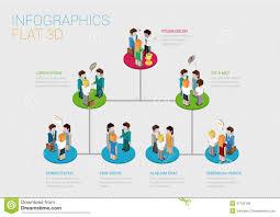Flat 3d Isometric Web Infographic Organization Chart Concept