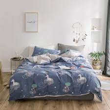 2018 blue grey unicorn night duvet cover set twin queen king flat sheet or fitted sheet soft cotton bedlinens pillowcases yellow duvet cover best bedding