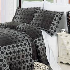 geometric grey black cotton duvet cover set