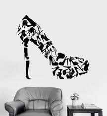 high heels shoes wall art stickers living room creative decor footwear women s shoes shop fashion wall on shoe wall art high heels with high heels shoes wall art stickers living room creative decor